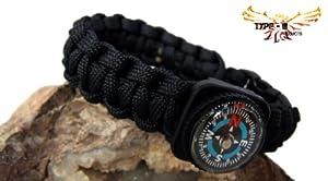 (Black) Type-III 7 Strand 550 Paracord Bracelet w/ Compass (8 Inch)