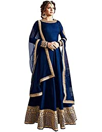 M&M World Anarkali Suit For Women & Girls Party Wear Stitched For Girls For Specail Uses In Wedding, (Blue 6 Salwar...