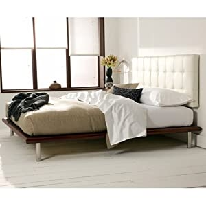 Amazon Mies Platform Bed White Leather Headboard By