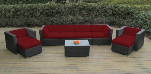 Genuine Ohana Sunbrella Red (5403) Outdoor Patio Sofa Sectional Wicker Furniture 9pc Couch Set with Free Patio Cover (PN0910) picture