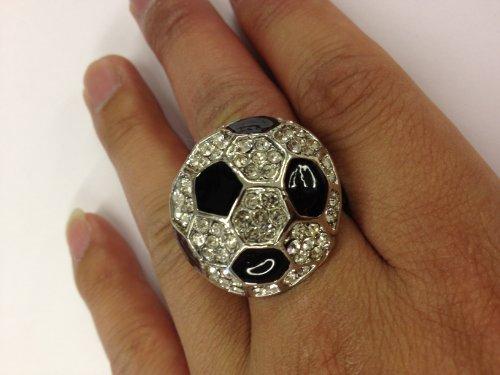 New Fashion Stretch Ring With Rhinestone Soccer Design
