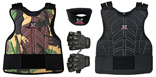 Maddog-Sports-Padded-Chest-Protector-Tactical-Half-Glove-Neck-Protector-Combo-Package