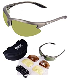 Rapid Eyewear Condor Polarised Sunglasses for Golf - Silver-Grey, With Interchangeable Lenses