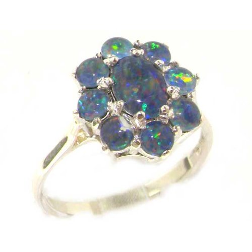 Luxury Sterling Silver Womens Opal Cluster Ring - Size 12 - Finger Sizes 5 to 12 Available - Suitable as an Anniversary ring, Engagement ring, Eternity ring, or Promise ring