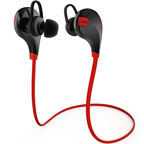 AUKEY Auricolare Bluetooth 4.1 Cuffia Stereo Sport in ear con Microfono per Telefoni Cellulari di iOS e Android iPhone Samsung e Altri Dispositivi come iPad Tablet Computer (Rosso e Nero)