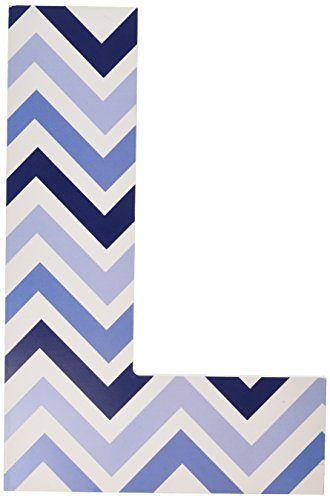 The Kids Room by Stupell Tri-Blue Chevron Hanging Wall Initial, L, 18""