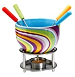 Kitchen - Mastrad Ceramic Fondue with Coloured Metal Handle Forks, Stripes Design
