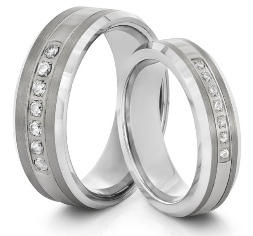 His & Her's 8mm/6mm Tungsten Carbide Silver CZ