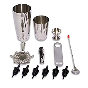 2dayShip 13 Piece Stainless Steel Professional Bar Set (2 Cocktail Shakers, Jigger, Speed Opener, Waiters Corkscrew, Julep Strainer, Long bar spoon and 6 Black bottle pourers)