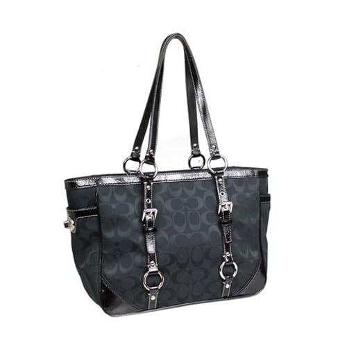 coach 12cm signature gallon gallery east west book bag tote 17057 black handbags