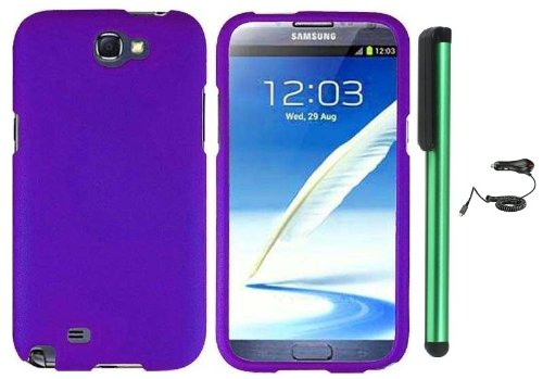 #1  Purple Design Protector Hard Cover Case for Samsung Galaxy Note II N7100 (AT&T, Verizon, T-Mobile, Sprint, U.S. Cellular) Android Smart Phone + Luxmo Brand Car Charger + Combination 1 of New Metal Stylus Touch Screen Pen (4