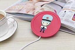 eSmart Cute Soldier Rabbit Cartoon Hot Office Desk Cup Warmer USB Powered Coffee Cup Heat Heater Warm Novelty Fun Winter Gift (Pink Soldier)