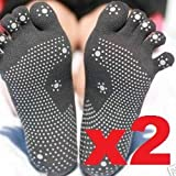 Silicone Dots Non-slip Grip Yoga Toe Socks - Charcoal
