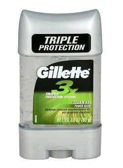 Gillette 3X Clear Gel AntiPerspirant Deodorant, Power push, 3 Oz