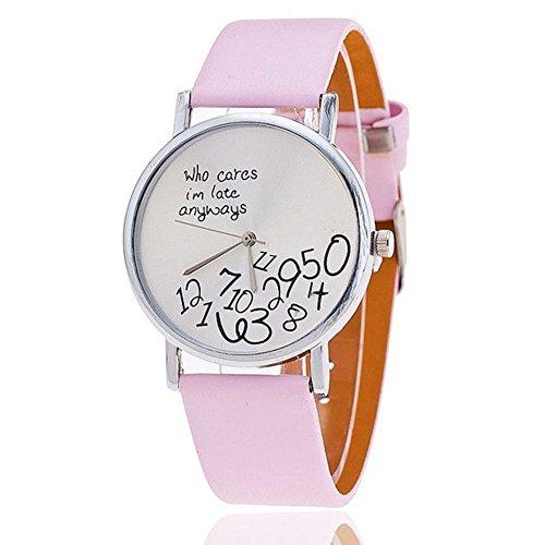 3colori che cura i 'am tardi comunque orologio donna cinturino in pelle al quarzo relojes mujer Pink