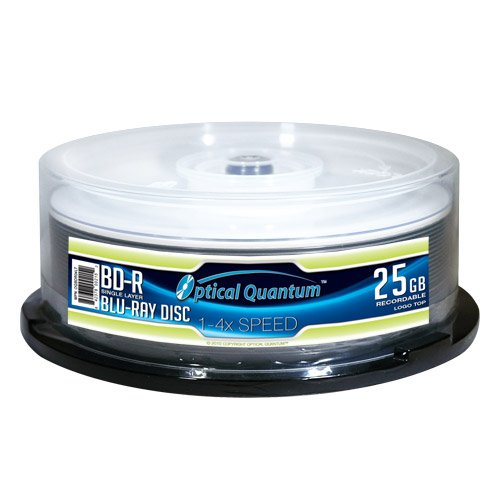 Optical Quantum 25GB 4X Blu-ray Single-Layer Recordable Disc BD-R Logo Top - 25 discs Spindle