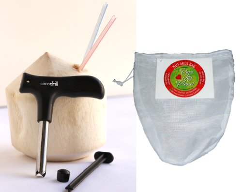 Gain Amazing Nut-Milk Bag From Elaina Love'S Pure Joy Planet + Cocodrill Coconut Opener Tool Combo! Punch Tap Knife For Opening Coco Nuts! dispense