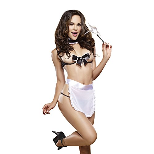 Womens Dg9323 Maid For Pleasure Sexy French Maid Costume, 5Pc Set