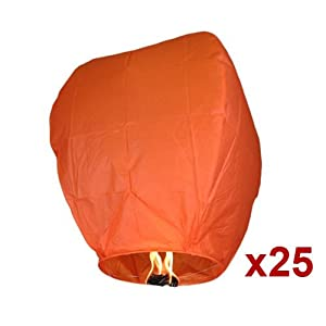 25pc Orange Sky Fire Chinese Lanterns Flying Paper Wish Balloon for Wedding Festival Christmas Party