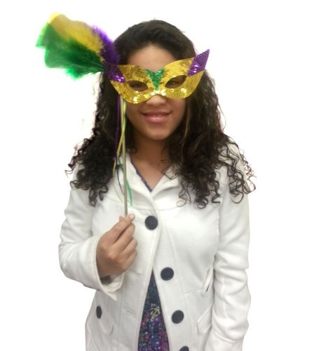 Mardi Gras Sequin Mask With Feathers And Stick - Glamorous Mardi Gras Mask