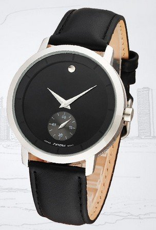 Ufingo-Nice Leather Strap Stylish Quartz Wrist Watch For Men/Boys-Black