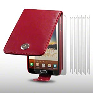SAMSUNG GALAXY NOTE SOFT PU LEATHER FLIP CASE WITH 6 SCREEN PROTECTORS BY CELLAPOD CASES RED