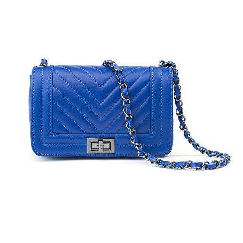 Almo - Borsa in pelle da donna made in Italy, colore: blu a tracolla o a spalla