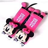 Child Children Kids Safety Design Multi Use Auto Car Seat Belt Cover Plush Seat Shoulder Pad Cushion 2 Pcs One Pair (Minnie Mouse)