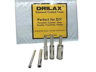 "Drilax™ 5 Pcs Diamond Drill Bit Set 3/16"", 1/4"", 5/16"", 3/8"", 1/2"" - Wet Use for Tiles, Glass, Fish Tanks, Marble, Granite, Ceramic, Porcelain, Bottles, Quartz - Lot 5 Diamond Coated Drills - Kitchen, Bathroom, Shower, Lamps Drilax050513 by DRILAX"
