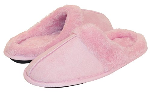 hometop-womens-cozy-fleece-slip-on-house-slipper-with-faux-fur-trim