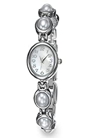 Faux Pearl Oval Face Bracelet Watch