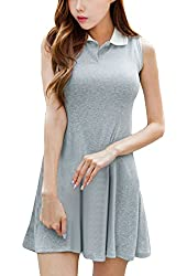 Women Convertible Collar Pullover Sleeveless Ribbing Soft Dress