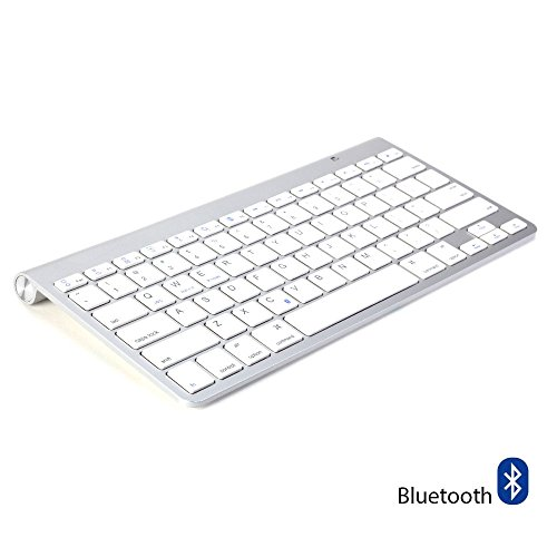 GMYLE Universal Bluetooth Wireless Keyboard Ultra Slim for Computers, Tablets and Smartphones - Silver