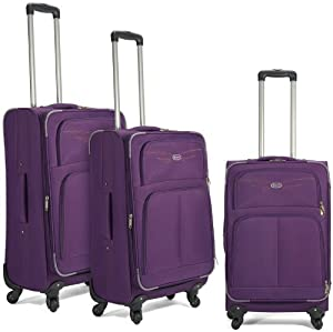 4 Wheeled Spinner Suitcases Set Of 3 - Luggae Cabin Suitcases Purple