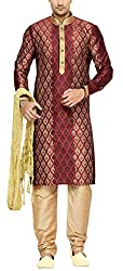 Indian Poshakh Men's Silk Sherwani (1204_40, 40, Red and Beige)