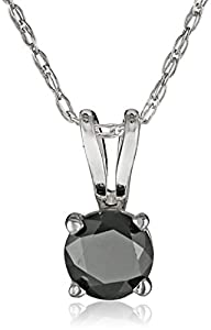 14k White Gold Black Diamond Solitaire Pendant (1/4 cttw)