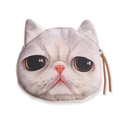 Enjoydeal Cute Lifelike Cat Face Bag Zipper Case