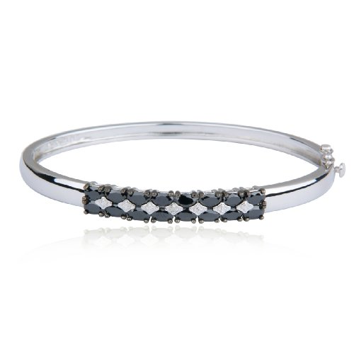 Platinum Plated Sterling Silver Black Cubic Zirconia