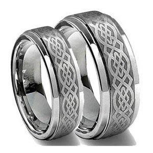 Men & Ladies 8MM/6MM Tungsten Carbide Wedding Band Ring Set w/Laser Etched Celtic Design (Available Sizes 4-14 Including Half Sizes) Please e-mail sizes