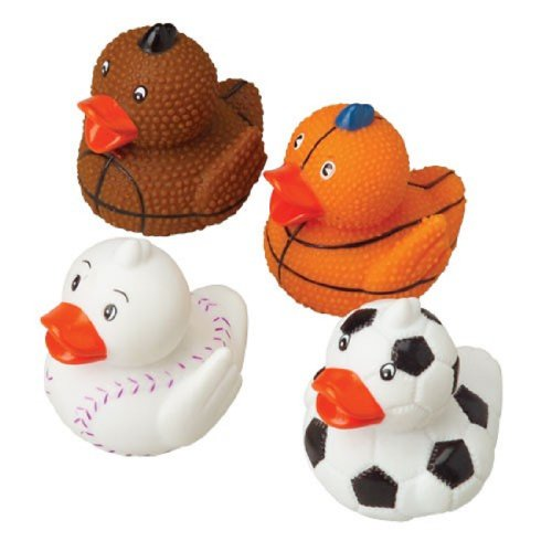 "Dozen Assorted Large (2.25"") Sports Themed Rubber Ducks Duckies - 1"