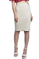 Divaat White Scuba Medium Skirt For Women