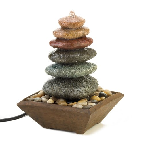 Gift & Decor Zen Stacked Multi-Color Stones Rocks Statue Art Table Top Water Fountain