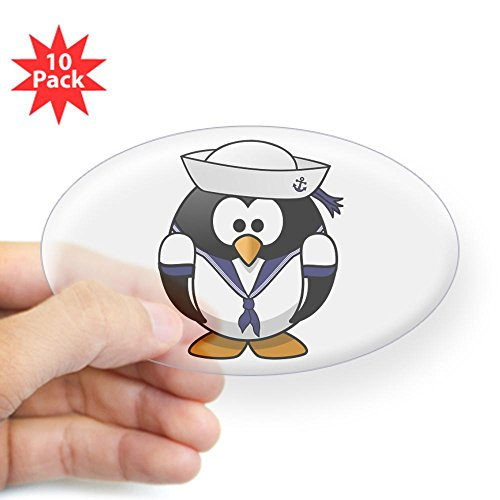 Sticker Clear (Oval) (10 Pack) Little Round Penguin - Navy Sailor