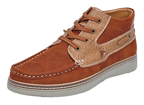 Serene Christmas Mens Comfortable Two-stone Suede High Top Sneakers Crocodile Lace-up Fashion Sneakers (10.5 D(M)US, Brown)