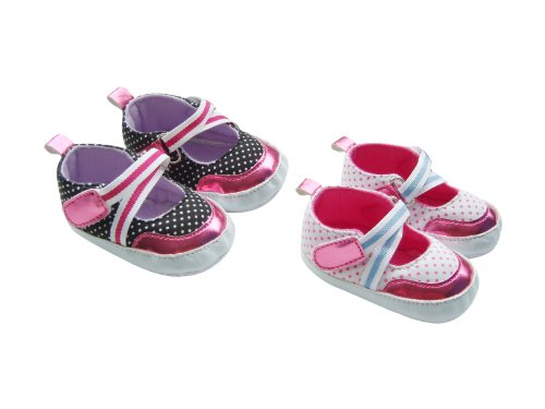 MABINI® Baby Girls Polka Dot Design & Shiny Pink Details Slip On Shoes / Booties With Velcro Strap