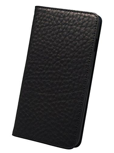 modaMania 【 iPhone6Plus 】 本革 イタリアンレザー ベジタブルタンニンレザー 手帳型 ケース 【43SR】 (iPhone6 Plus, ブラック×ブラック)
