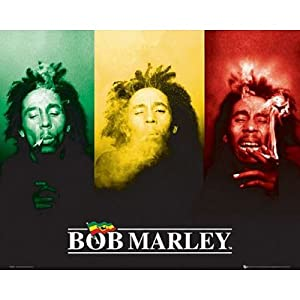Bob Marley (3 Faces, Smoking, Flag) Music Poster Print - 20x16