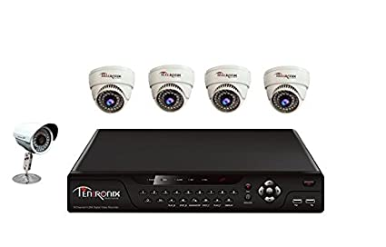 Tentronix T-8CH-5-D4B18 8Channel DVR + 4 Dome + 1 Bullet CCTV Cameras