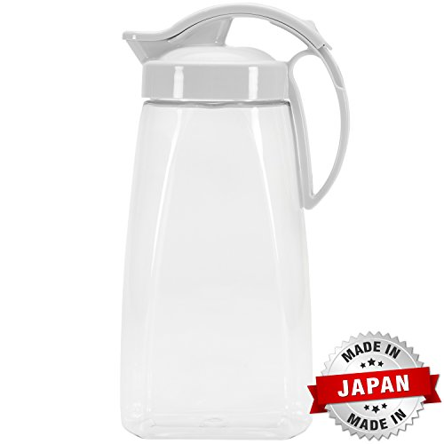 QuickPour Airtight Pitcher with Locking Spout Japanese Made - For Water, Coffee, Tea, & Other Beverages - 2.3 Quarts - White (Small Pitcher With Spout compare prices)