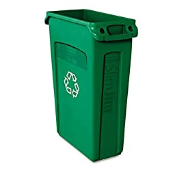 ** Slim Jim Recycling Container w/Venting Channels, Plastic, 23 gal, Green **